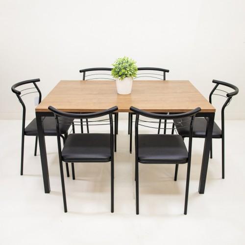 Conj. mesa 1526 com 6 cadeiras Pretas 1708